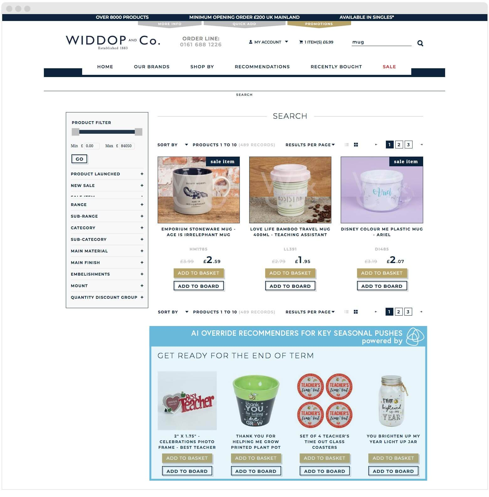 Widdop AI recommenders increasing sales and average order value