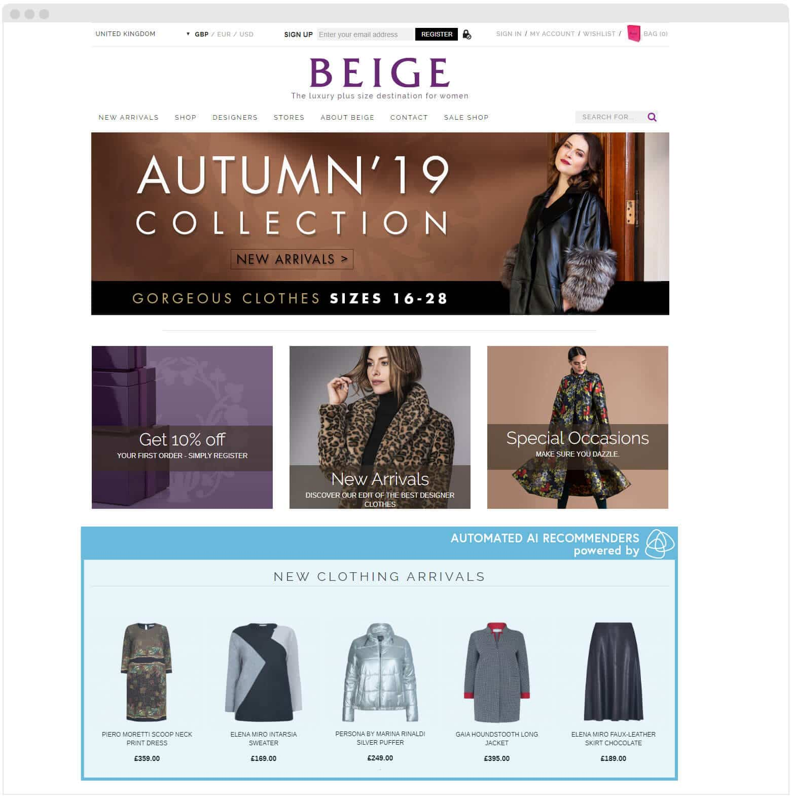 Beige homepage AI recommenders
