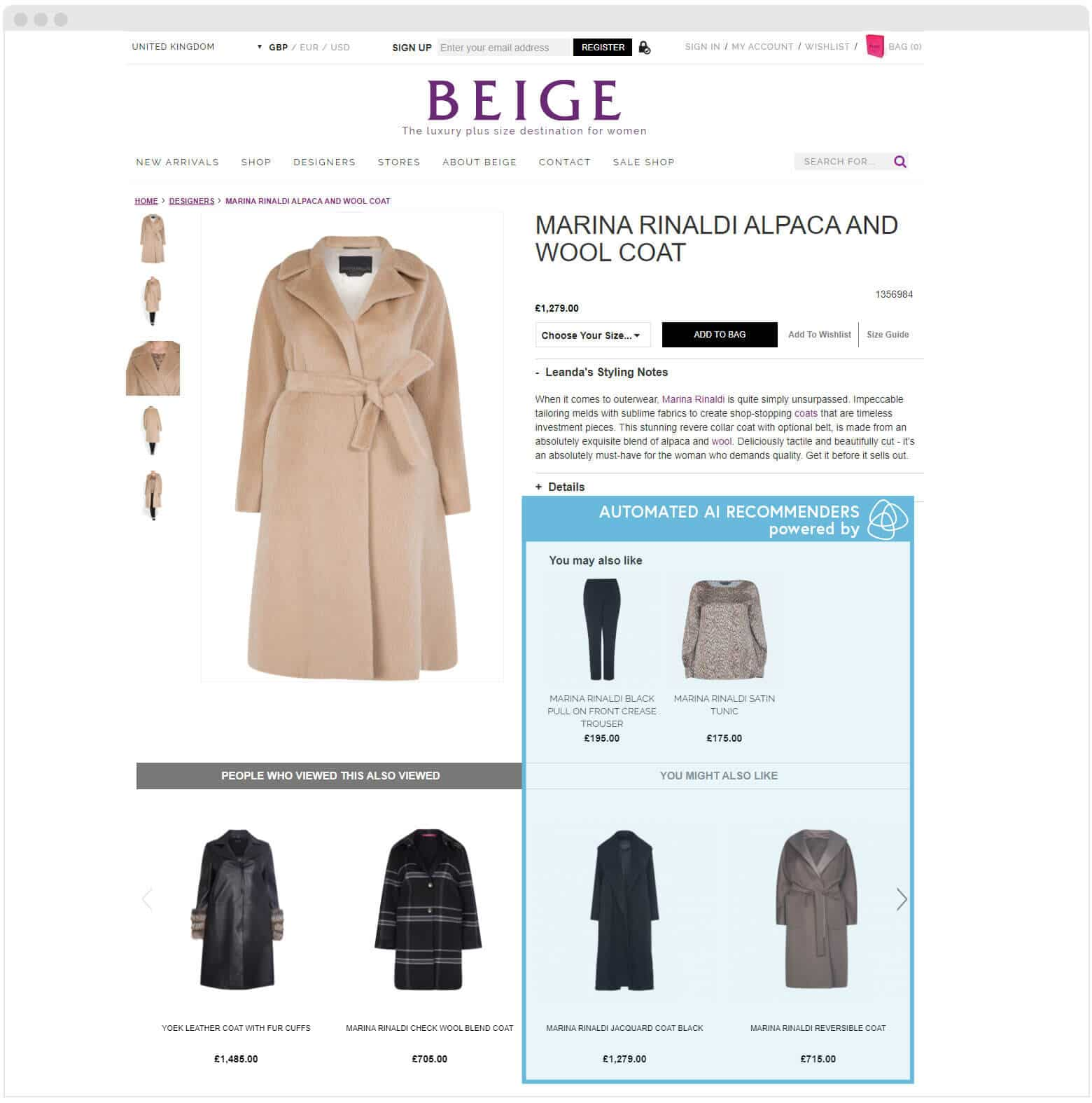 Beige Product page Ai Recommenders