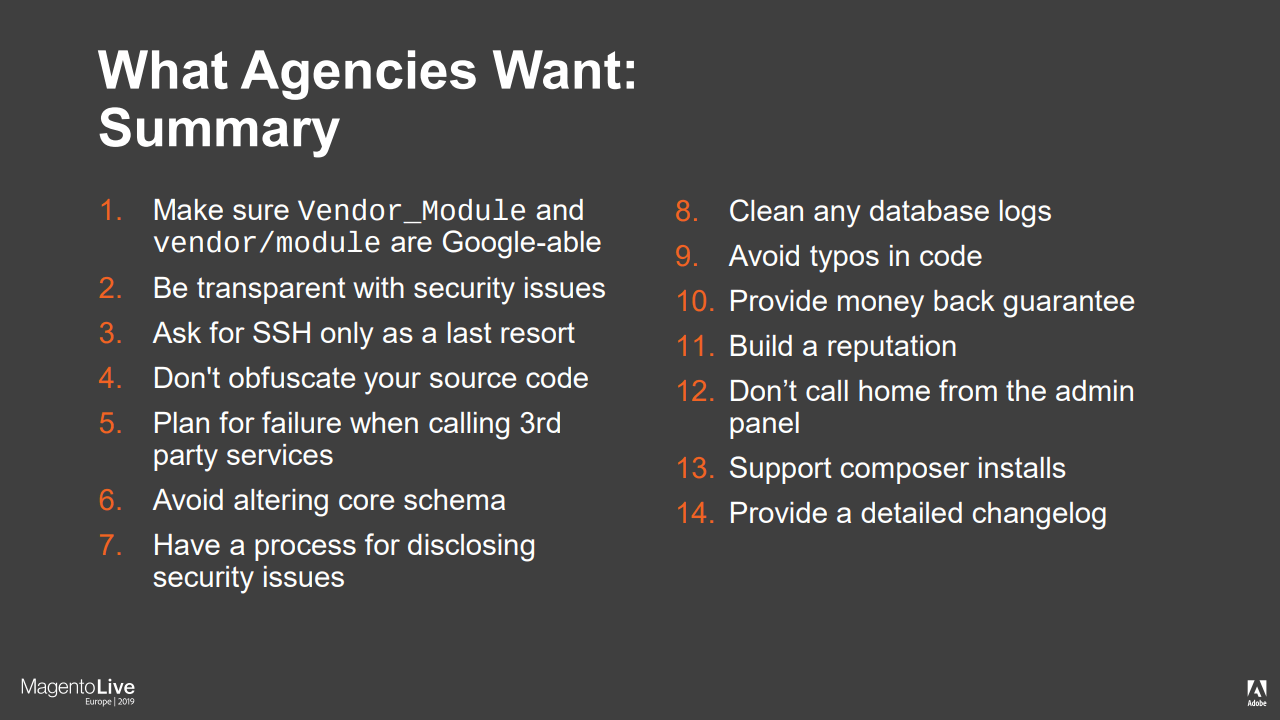 What Agencies Want From Magento Extensions
