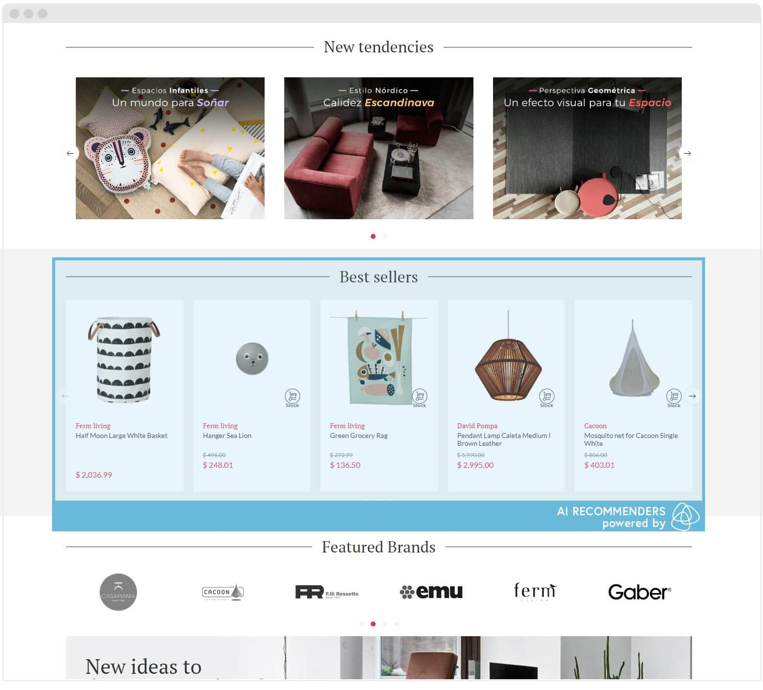 Shopdesign homepage recommenders