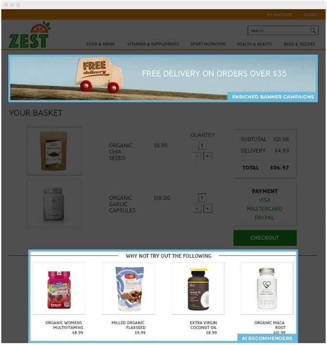 Personalising your online basket page